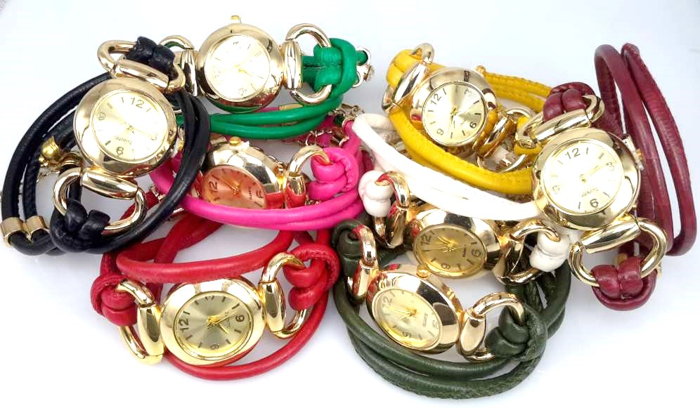 Armbandhorloge, dubbele PU leren veterwrap (2), ringetje met zirkonia, 7 kleuren