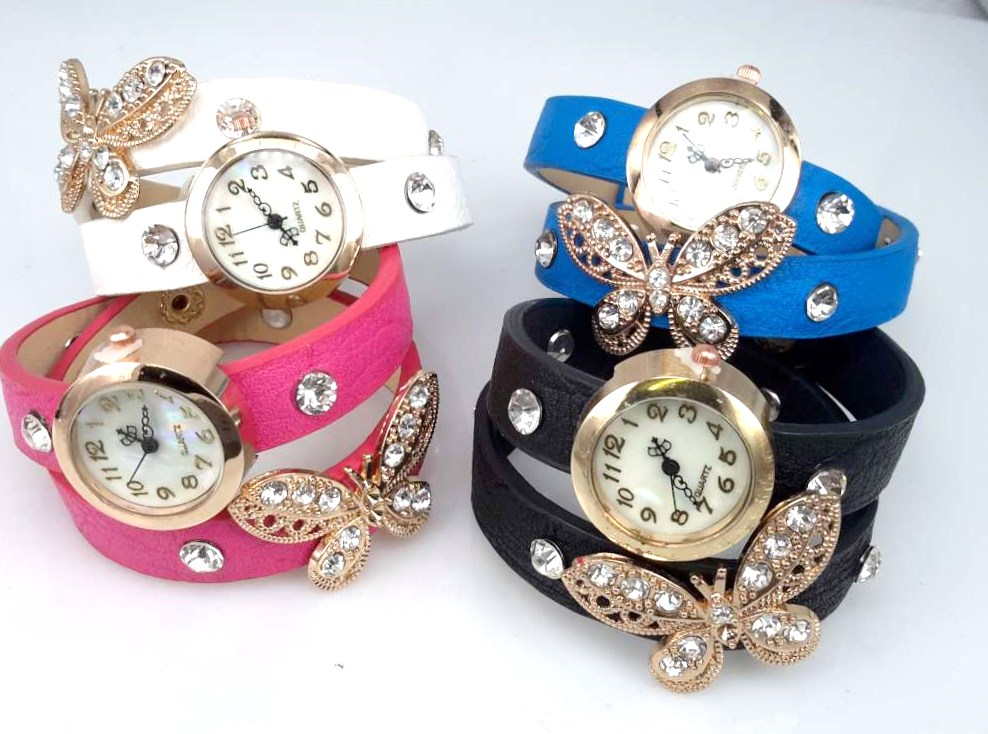 Armbandhorloge, PU leren wrap (2), vlindertje, zirkonia, 4 kleuren
