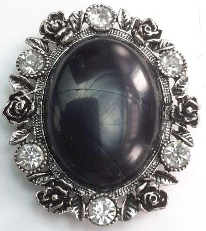 Magneet Broche, ovaal, metaal, roosjes, zwart howliet edelsteen.