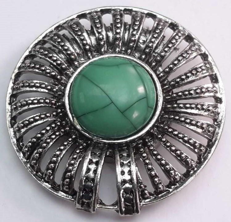 Magneet Broche, rond, metaal, turkoois groen steen.