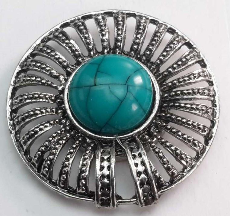 Magneet Broche, rond, metaal, turkoois blauw steen.