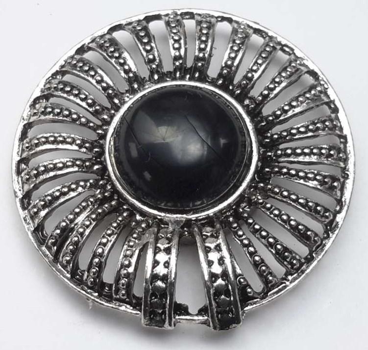 Magneet Broche, rond, metaal, zwart howlietsteen.