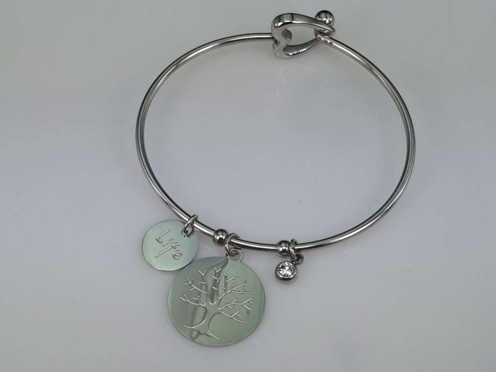 Edelstaal smalle ronde Armband met 3 bedel.