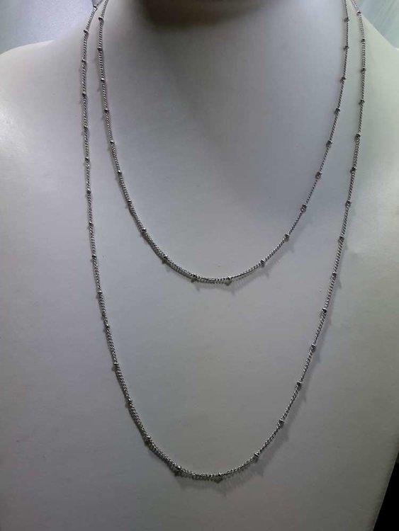 Edelstaal fijne schakel met balletjes ketting, L 60 cm