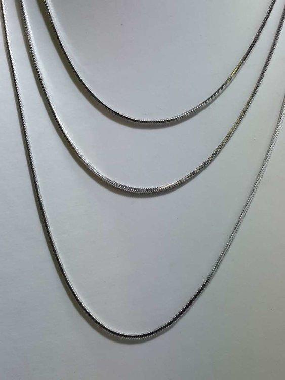 Edelstaal vierkant slangenketting, L 50 cm