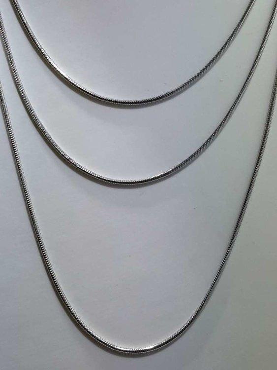 Edelstaal Ronde slangenketting, L 50 cm
