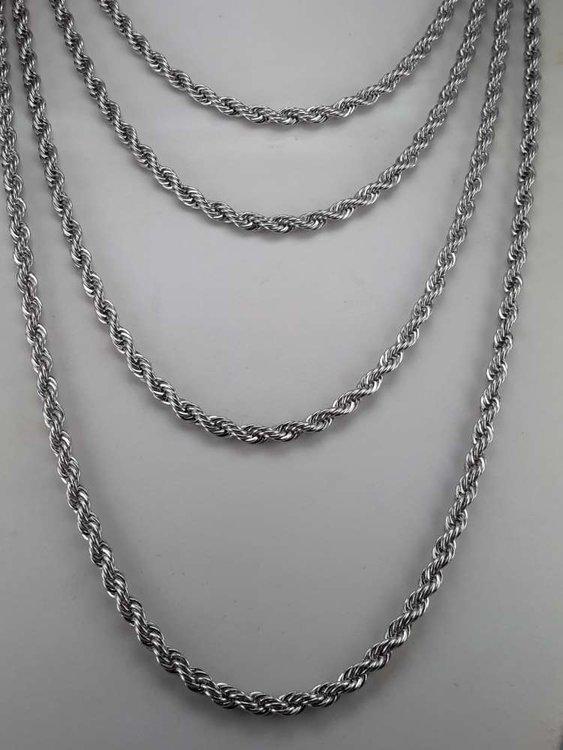 Edelstaal koord ketting, L 60 cm