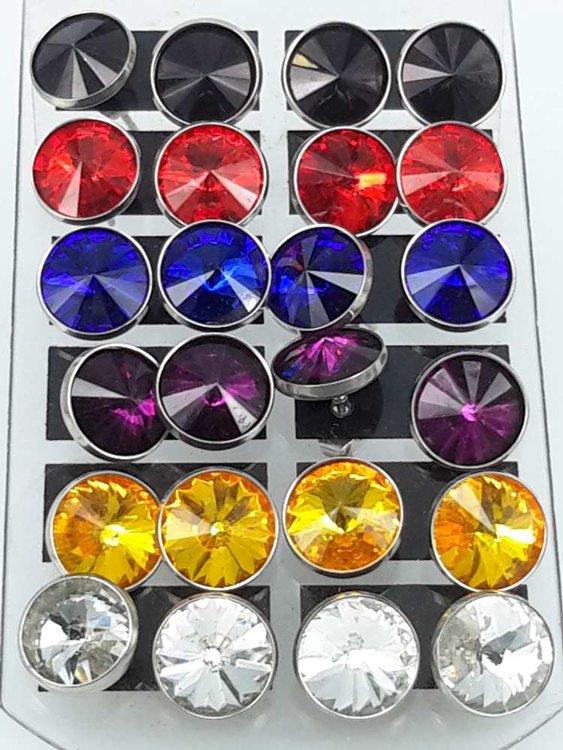 Edelstaal Oorsteker,10 mm kristal, display van 12 paar in 6 kleur.