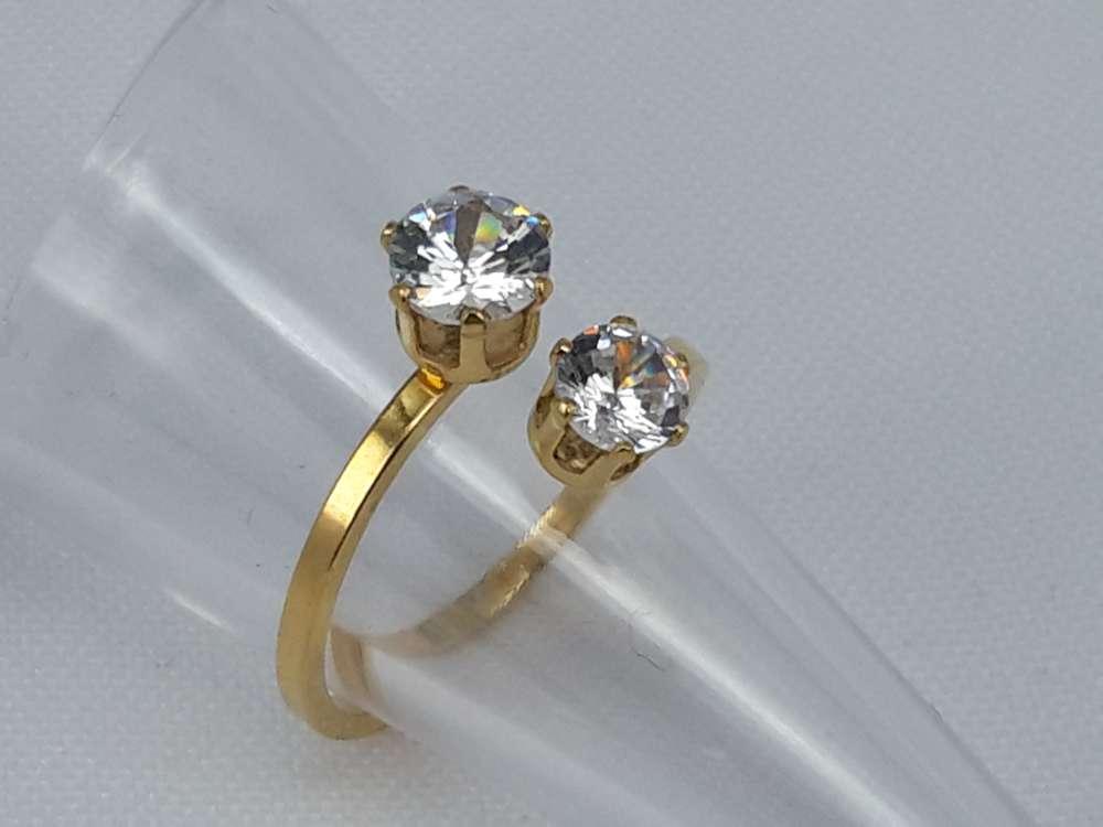 Edelstaal Ringen goudkleurig dubbel zirkonia, doos 36 st