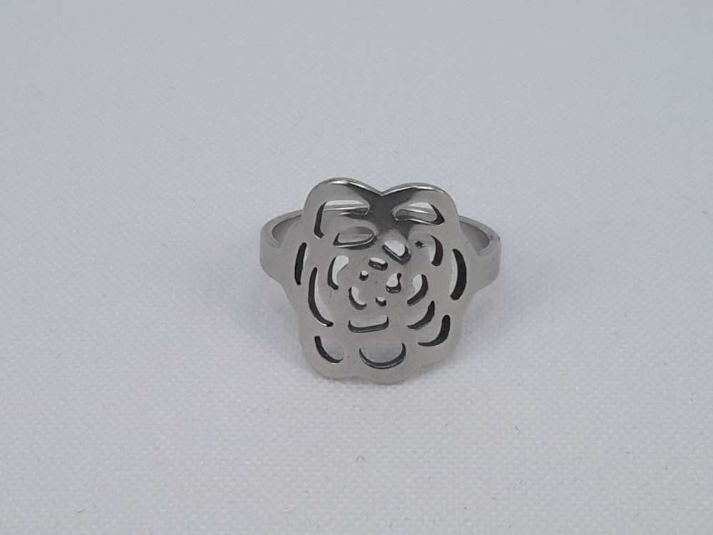 Edelstaal Ringen zilverkleurig ring met uitgesneden roos figuur, doos 36 st
