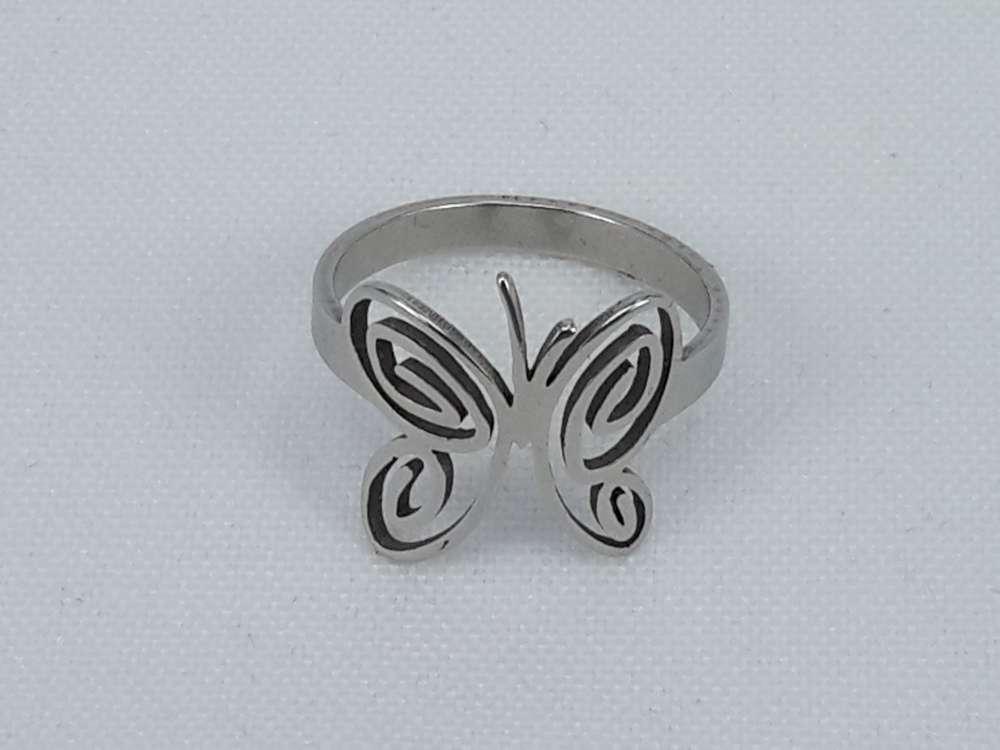 Edelstaal Ringen zilverkleurig ring vlinder, doos 36 st