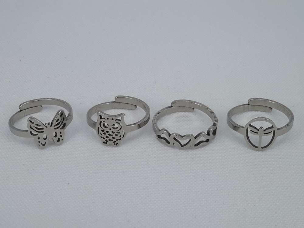 Edelstaal Ringen kinderen ring met 4 verschillende motief in 1 doos, doos 36 st