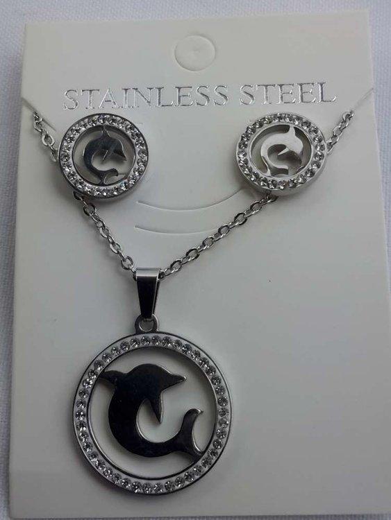 Set edelstaal sieraden dolfijn met strasse steentjes.