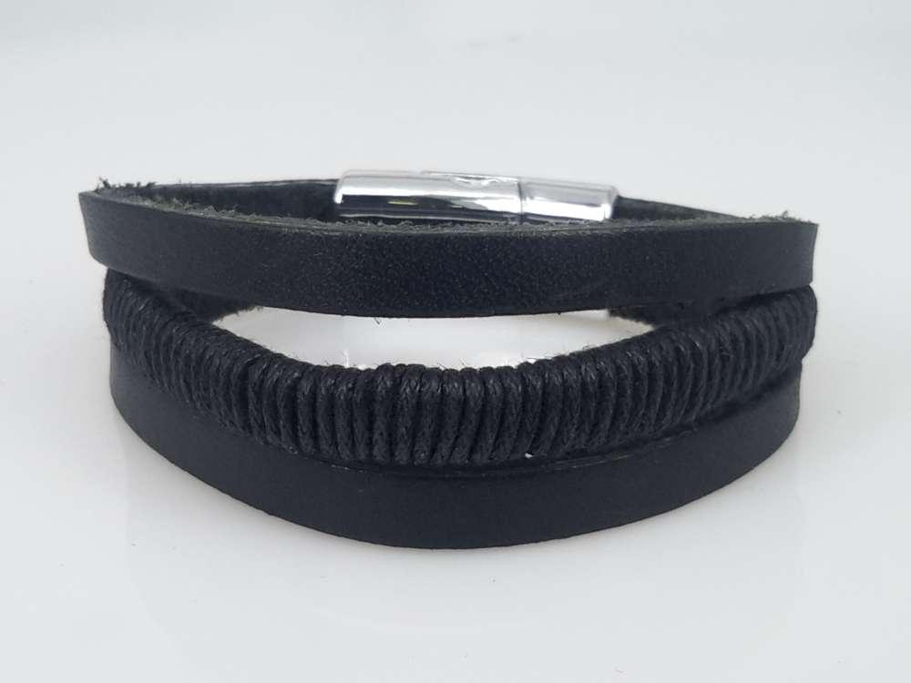 Leren kinderen armband zwart, 3 stroken, touw, magneetsluiting