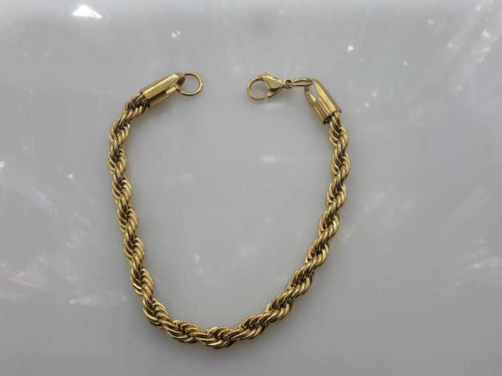 Goudkleurig edelstaal, koord armband 18 en 20 cm