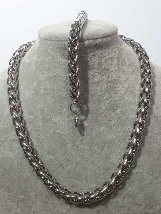 Set edelstaal vossenstaart schakel ketting keuze uit lengte armband 21 en 23 cm.