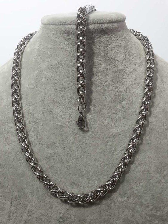 Set edelstaal vossenstaart schakel ketting met armband in drie lengte 20, 21, 22 cm.