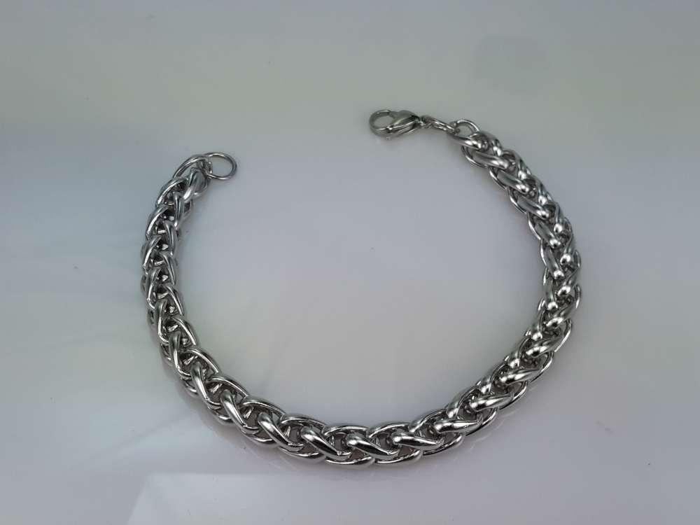 Edelstaal vossenstaart schakel armband in drie lengte 20, 21, 22 cm.