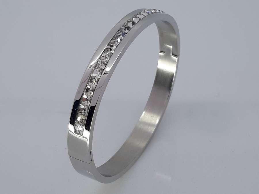 Slaven Armband, vierkante kristallen, ovaal edelstaal