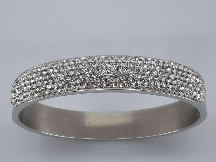 Slaven Armband, vele kristallen, ovaal edelstaal