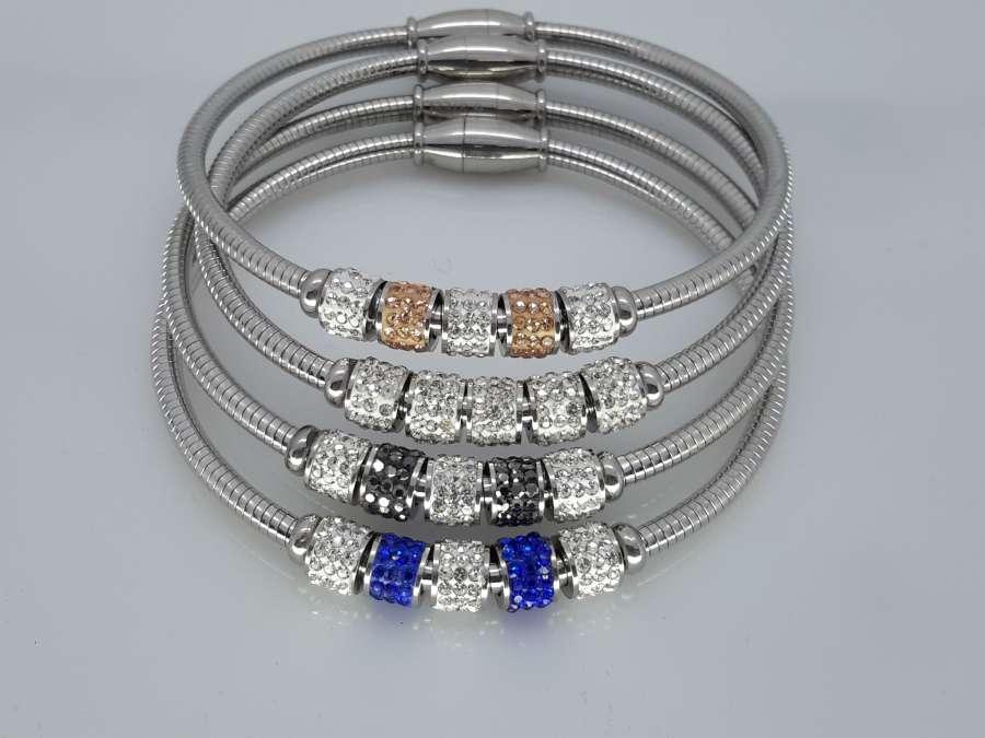 Flex Armband 18cm, 2 kleur & 3 wit kristalrijen, edelstaal