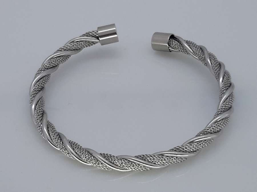Slaven-Armband, kabel & mesh gedraaid, buigbaar, edelstaal