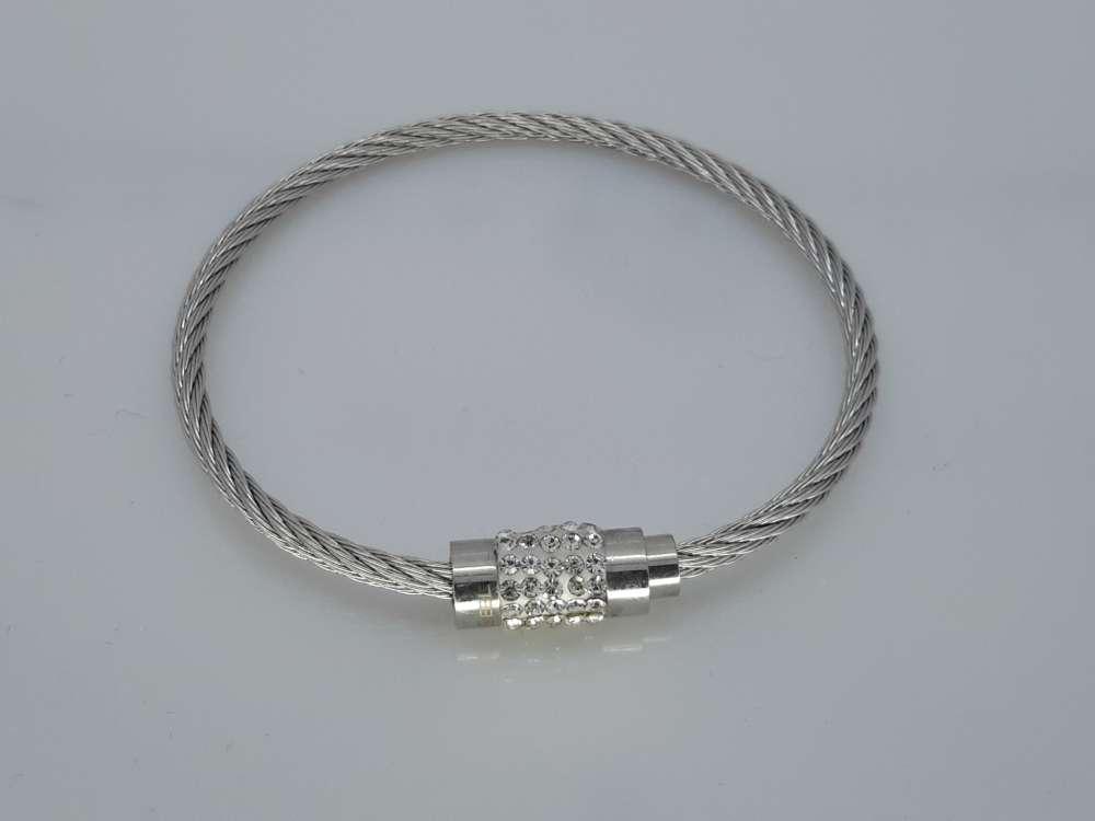 Kabel Armband 18cm, kristallen, edelstaal