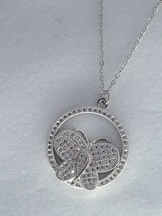 schakelketting, ring, vlinder, strass, edelstaal