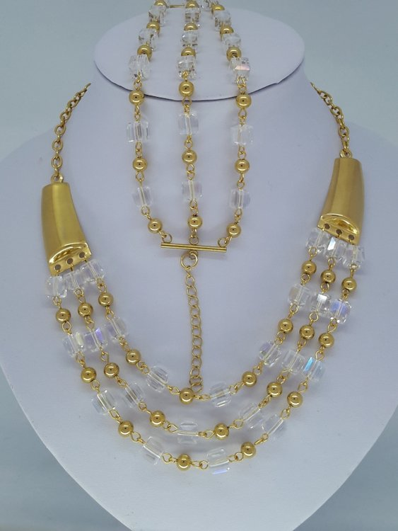 ketting & armband goud kleur, kristalblok, kogeltje, edelstaalset