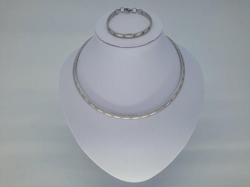 Omega ketting & armband, bloemetje, edelstaalset