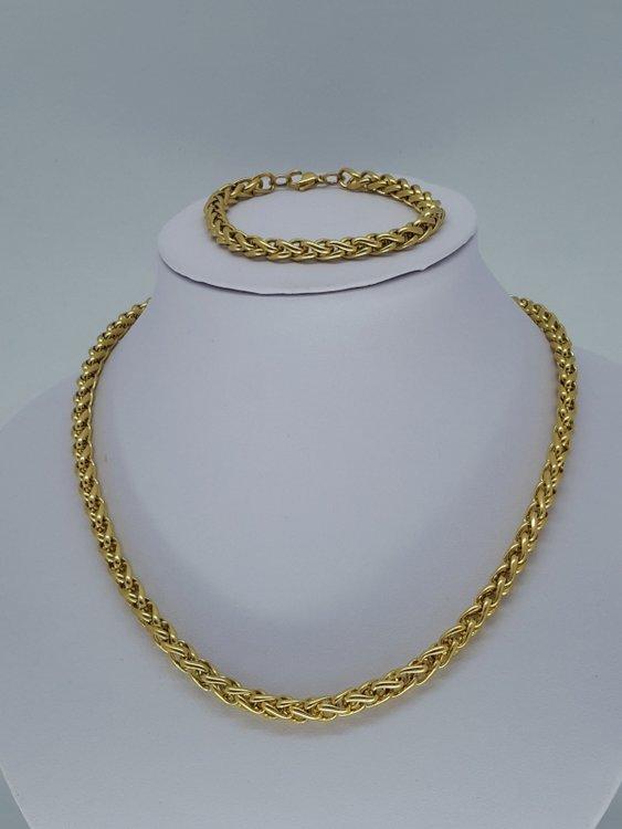 Heren ketting & armband goudkl 6, ringen, edelstaalset