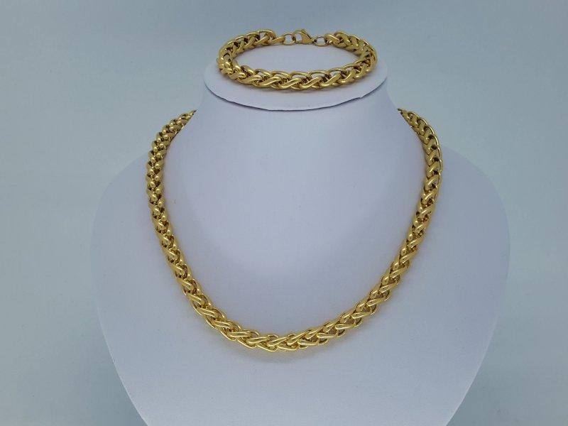 Heren ketting & armband goudkl 8, ringen, edelstaalset