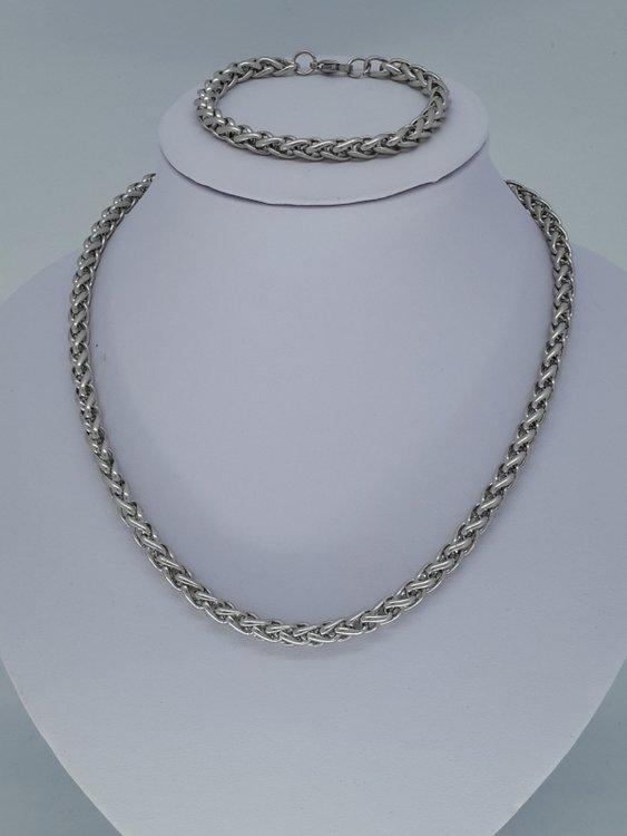 Ketting & armband 6, ringen, edelstaalset
