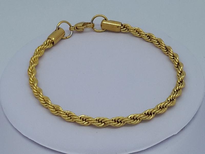 armband goudkl 0,8, 'touwen', edelstaal