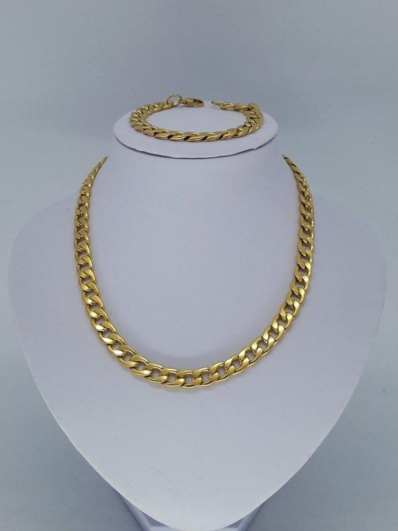 Ketting & armband goudkl, 9 open gourmet, edelstaalset
