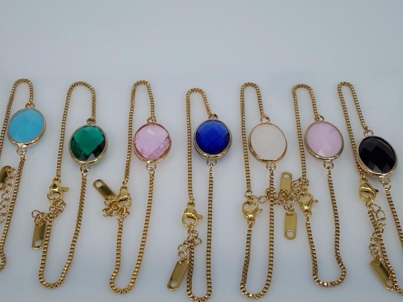 super fijne schakel armband goudkl, ovaal facet kristalglas, edelstaal, in 7 kleuren