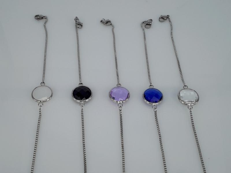 super fijne schakel armband, rond facet kristalglas, edelstaal, in 5 kleuren