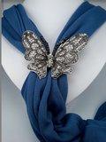 Sjaalring, vlinder, zwart wit strass, magneetsluiting_