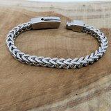 Armband 19cm, vierkant schakels, drukslot sluiting, edelstaal_