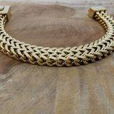goudkleurige Armband 17cm, dubbele VV schakel, drukslot sluiting, edelstaal_