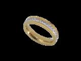 Edelstaal Ringen Goudkleurig gezet rond omheen met facet geslepen kristal_