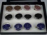 Ring, metaal, rond glas gevuld met gekleurde pareltjes, mixpakket 12 stuks_