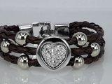 Armband, 3-delig gevlochten, metaalkleurige kralen_