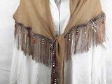 Ibiza sjaal-doek, bies, franje, houtkralen_