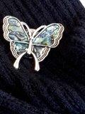 Magneet Broche, Vlinder parelmoer schelp, antiek bronszilver look_