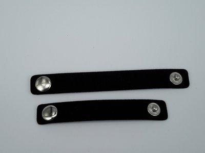 Scarvelets / Sjaal riempje, zwart Suède, verpakt set 2 stuks
