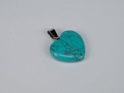Hanger, Groen turquoise hartje, kwarts edelsteen