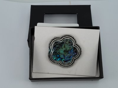 Magneet Broche, vijfhoekig parelmoer schelp, antiek brons zilver look