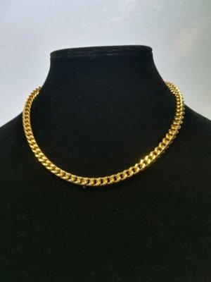 Edelstaal goudkleurig Ketting/collier, vierkant gourmet schakel. 45 cm
