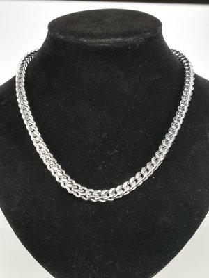 Edelstaal Ketting / collier, vierkant gourmet schakel, L 45 cm